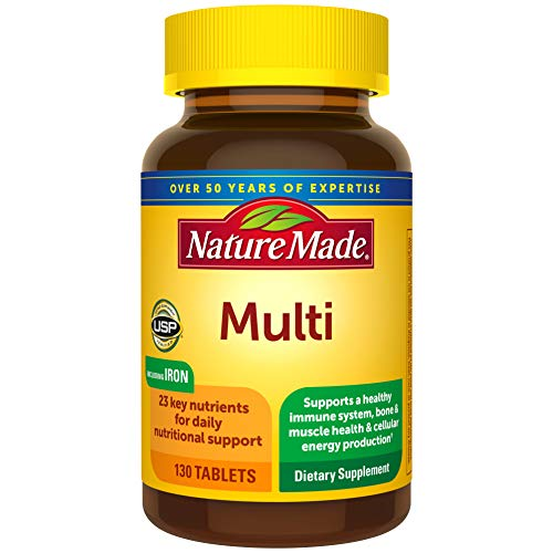 Multivitamin Tablets with Vitamin D3 and Iron, 130 Count for Daily Nutritional Support