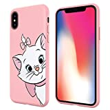 Pnakqil Coque iPhone XS/X, stylé Rose avec Mignon Motif Silicone Flexible Souple Case Gel TPU Bumper Ultra Mince Fine Antichoc Housse de Protection Cover pour Apple iPhone XS/X, Chat 01