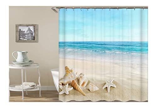 AmDxD Polyester Duschvorhang Strand Welle Stern Tritonshorn Design Badewanne Vorhang Bunt für Badezimmer Waschbar 180X200CM