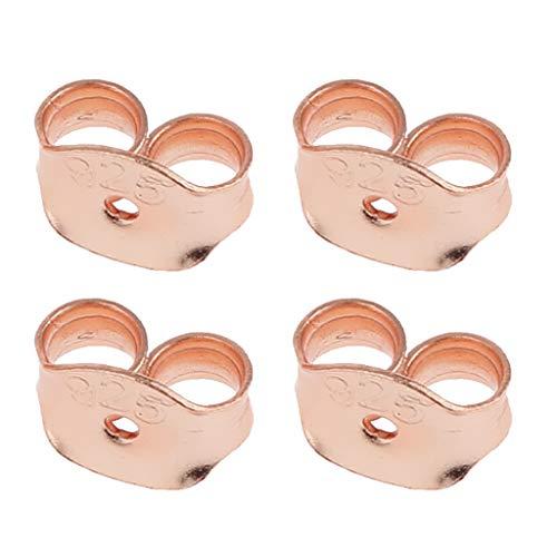 sharprepublic Conjunto De 4 Pendiente Tapón Seguridad Volver Mariposa Forma Plata De Ley 925 - Oro Rosa, Individual