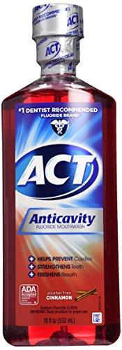 ACT Alcohol Free Anticavity Fluoride Rinse-Cinnamon, 18 Fl Oz (Pack of 2)