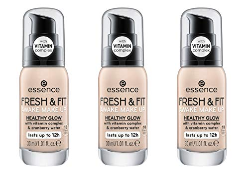 essence FRESH & FIT AWAKE MAKE UP, Foundation, Nr. 10 fresh ivory, nude, für Mischhaut, ohne Parabene, Nanopartikel frei, glutenfrei, 3er Pack (3 x 30ml)
