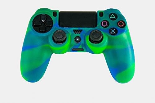 GAMINGER Silikon Schutzhülle Schutztasche Camouflage für PlayStation 4 Controller Case Protect Grip Schutz Cover blau grün