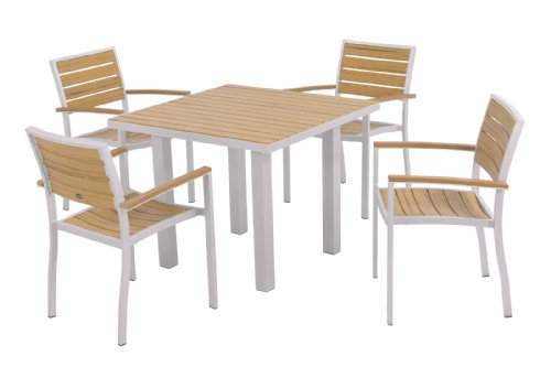 Hot Sale POLYWOOD PWS118-1-11NT 5-Piece Dining Set, Euro, Textured Silver/Plastique