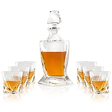 Premium Crystal Decanter Set by Luxe Crystal & Glass, 7-Piece Set in Black Gift Box