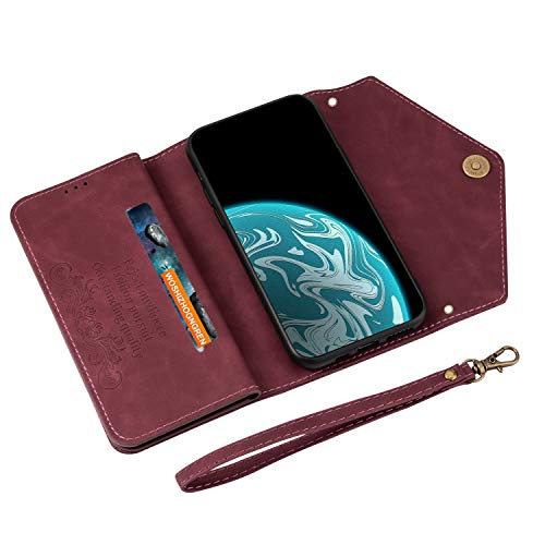 UKDANDANWEI P40 Pro Case, PU Leather Flip Case Dual Folio Card Slot Sleeve Housing with Wrist Strap Magnetic Stand Case Cover for Huawei P40 Pro -Red Wine