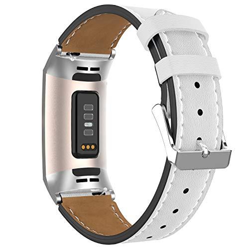 Adepoy für Fitbit Charge 3 Armband Leder, Echtes Klassisches Einstellbares Lederarmband Kompatibel mit Fitbit Charge 3 und Charge 3 Sonderedition (Weiß)