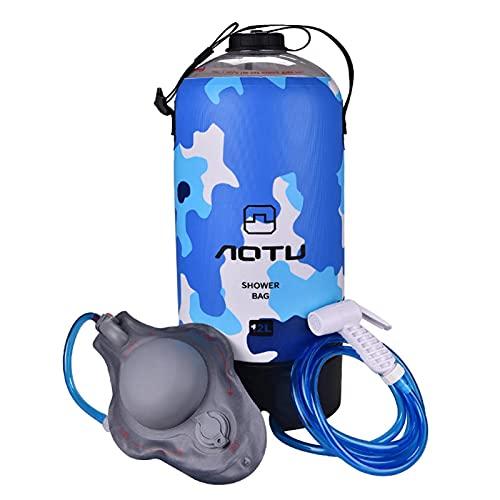 Ducha solar para exteriores, bolsa de agua para camping, con bomba de pie y alcachofa de ducha, ducha de jardín, ducha de piscina, agua caliente, 12 L