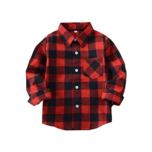 Toddler Girls Boy Clothes Plaid Flannel Long Sleeve T-Shirt Tops Kid Christmas Outfits(3-4T)