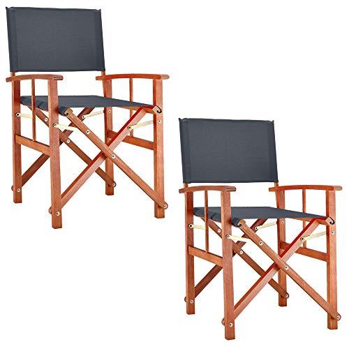Deuba® 2X Gartenstuhl Cannes FSC®-zertifiziertes Eukalyptusholz faltbar Klappstuhl Holz Stuhl Regiestuhl Anthrazit