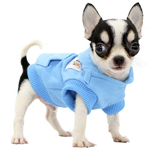 Lophipets Dog Cotton Hoodies Sweatshirts for Small Dogs Chihuahua Puppy Clothes Cold Weather Coat-Cambridge Blue/XXS