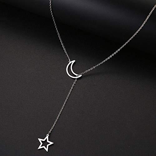 mengnuo Collares de Mujer Colgante Doble Cadena Larga Luna Estrella Collar de Acero Inoxidable Joyería