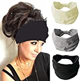 Zoestar Boho, diademas anchas, negras para correr, para yoga, bufandas con estilo vintage, para mujeres y niñas (paquete de 3)
