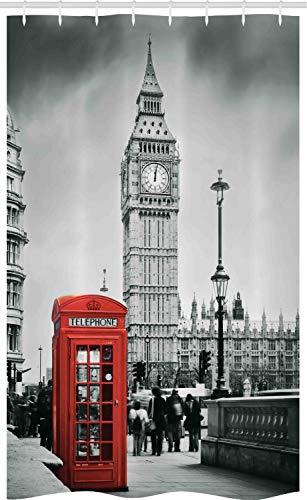 ABAKUHAUS London Schmaler Duschvorhang, Telefonzelle Big Ben, Badezimmer Deko Set aus Stoff mit Haken, 120 x 180 cm, Rotes Grau