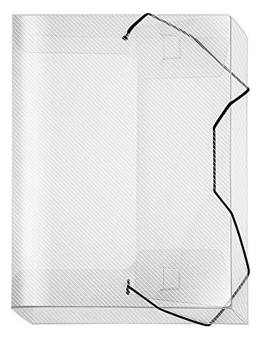 Veloflex 4443290 Sammelbox Crystal, DIN A4, transparente PP-Folie, mit Gummizug, Dokumenten-Box, Heft-Box, transparent