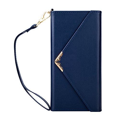 Shinyzone Stilvoll Umschlag Leder Brieftasche Hülle für Huawei P9 Lite 2017,Weich TPU Silikon mit Kartenhalter & Abnehmbarer Handschlaufe & Magnetisch Folio Schutzhülle,Blau
