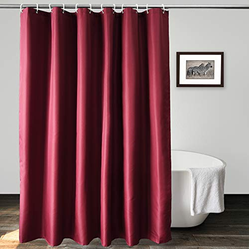 UFRIDAY Elegant Fabric Shower Curtain Thick Polyester Bath Curtain Durable for Home and Hotel, Burgundy, Average Size, 72 x 72