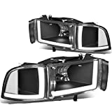 Pair Black Housing Clear Corner LED DRL Headlight + Signal Lamps Compatible with Dodge Ram 1500 2500 3500 94-02