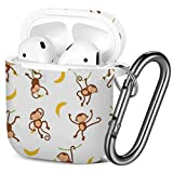 [ Compatible with AirPods 2 and 1 ] Shockproof Soft TPU Gel Case Cover with Keychain Carabiner for Apple AirPods (Cute Monkeys)