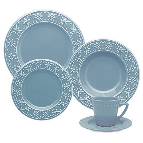 1 Aparelho De Jantar/chá 20 Peças Mendi Capri - Nm40-7305 Oxford Daily Azul
