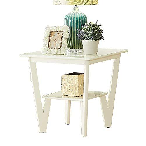 Life Equipment Tables d'extrémité Table d'appoint carrée Salon Table basse en bois massif Table d'angle Table de chevet de chambre à coucher Table d'extrémité de rangement à 2 couches (couleur: MAR