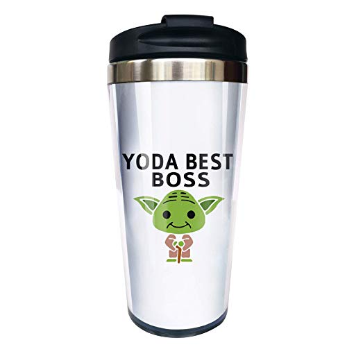 Hasdon-Hill Funny Travel Mugs For Women Men Dad Mom Yo-da Best Boss Coffee Mug Cute Star Fans Cup, Funny Boss Birthday Gift Christmas Present For Employee Staff Coworker Office 12 Oz
