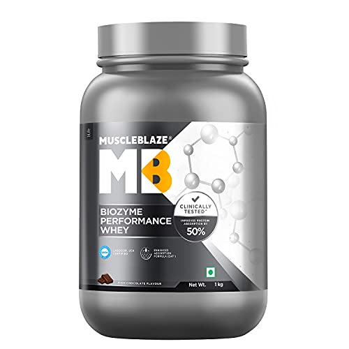 MuscleBlaze Biozyme Performance Whey (Rich Chocolate, 1 kg / 2.2 lb, 27 servings)
