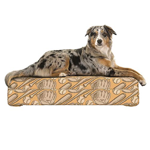 Lunarable Baseball Dog Bed, Sketch Bat Gloves and Balls Vintage Design Inspirations American Sports, Dog Pillow with High Resilience Visco Foam for Pets, 32