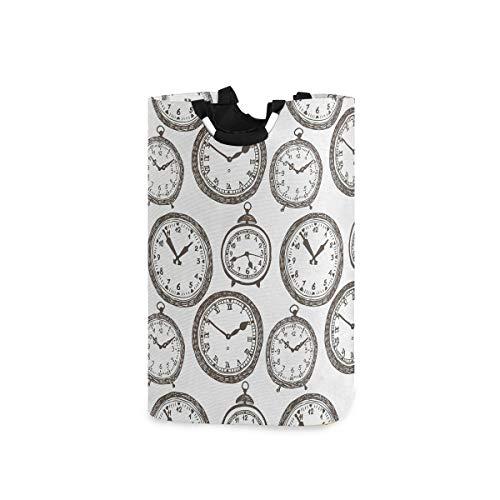 COFEIYISI Wäschesammler Wäschekorb Faltbarer Aufbewahrungskorb,Vintage Taschenuhr mit Zahlen auf antiken Design Chronometern altmodischen Druck,Wäschesack - Wäschekörbe - Laundry Baskets