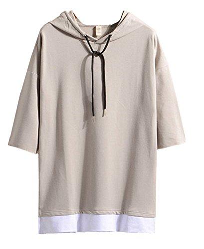Hisitosa Tシャツ メンズ 半袖 無地 七分袖 パーカー おしゃれ 大きいサイズ カットソートップス フード付き インナー 春 夏 ゆったり カジュアル プルオーバー (L, グレー)