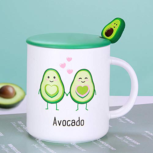 tasse kaffeebecher personality cute female ceramic cup with lid spoon mug trend home milk coffee cup-Avocado in hand