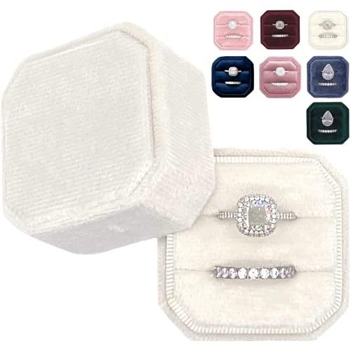 Pzpgeq Caja de terciopelo elegante vintage octogonal con soporte de doble almacenamiento, ideal para bodas de tela suave, compromiso, fotografía, decoración de novia y regalos funcionales (marfil)
