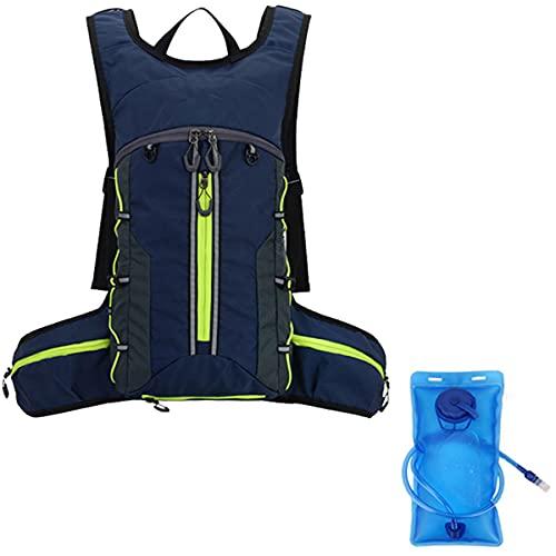 LGQ Zaino Idrico Sacca Idrica 2l Pieghevole con Strisce Riflettenti Zaino Idrico con Sistema di Idratazione per Uomo E Donna Escursionismo Adatto Zaino da Corsa Leggero,Dark Blue