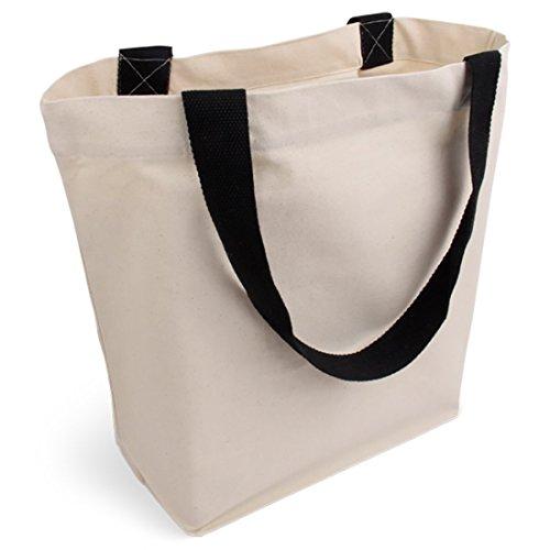 Cottonbagjoe stylische geräumige Tragetasche | mit Innentasche, Reißverschluss, und großem Boden | 1 Stück, Natur | Baumwolltasche Stofftasche Shopper Handtasche | Öko-Tex 100 Standard Zertifiziert