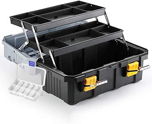 GOVD 3-Capa de la Caja de Herramientas, Caja de almacenaje Plegable de plástico del hogar Herramienta organizadores Multiuso, con Bandeja y divisores TOOLCASE (Size : 22inch)