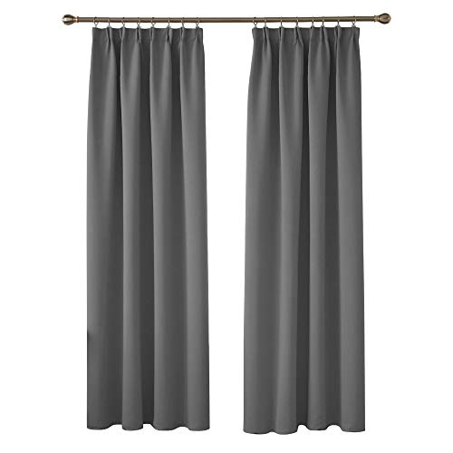Deconovo Blickdichte gardine mit Kräuselband Küche Fenster 242x132 cm Hellgrau 2er Set