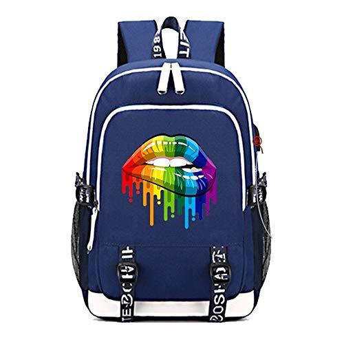 INSTO Backpack,School Bag Student Satchel with USB Charging-Port,LGBT Cartoon Printed Rucksack Wearing Comfortable / A3 / 30×15×44cm