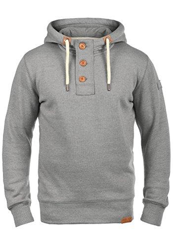 !Solid TripStrip Herren Kapuzenpullover Hoodie Pullover Mit Kapuze Knopfleiste Und Fleece-Innenseite, Größe:XL, Farbe:Light Grey Melange (8242)