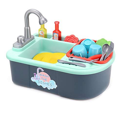 Huachaoxiang Juguetes de Cocina para niños, lavavajillas Juguete Casa Reciclado Agua Fregadero Cocina Niños Individual Juguete Cocina Simulación,Negro