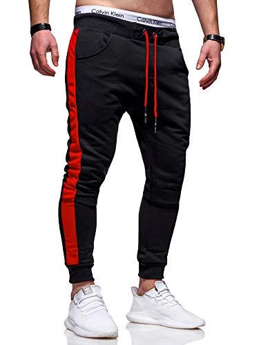 Rello & Reese Herren Jogginghose Trainingshose Hose Sporthose JG-3015 [Schwarz/Rot, XL]