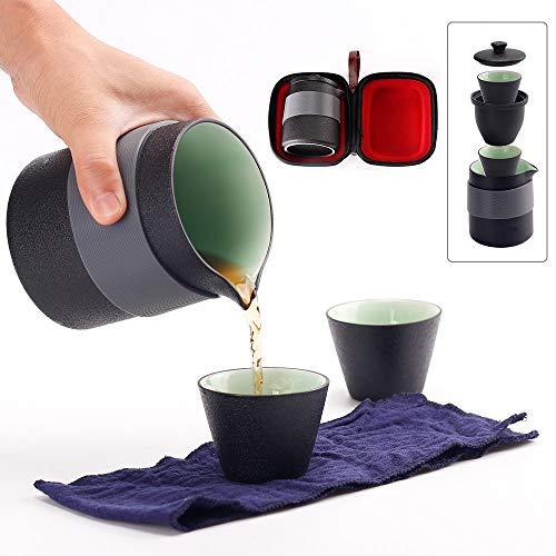 Louty Juego de Tetera de cerámica de Viaje, Tetera China de Kung Fu, 1 Maceta 2 Mini Tazas, Tazas de té de Porcelana con infusor de té, Bolsa portátil para Picnic al Aire Libre