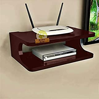 Wooden World Floating Wall Mounted Shelf for DVD Players,Cable Boxes, Games Consoles, TV Accessories. (Brown)