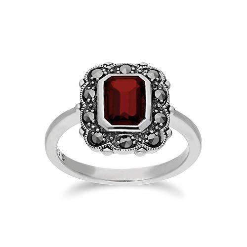 Gemondo Granat Ring, Sterling Silber Granat & Markasit Oktagon Jugendstil Ring - Garnet