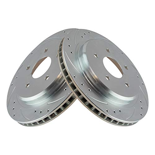 Performance Brake Rotor Drilled Slotted Coated Rear Pair for Corvette