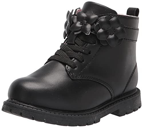 carter's Girls Daffodil Combat Boot, Black, 8 Toddler