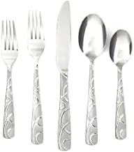 Cambridge Silversmiths Conquest Sand 30-Piece Flatware Silverware Set, Service for 6, Includes Forks/Spoons/Knives