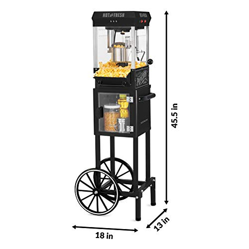 Product Image 2: Nostalgia KPM220CTBK 2.5 oz Professional Popcorn & Concession Cart with 5 quart Bowl, 45″ Tall, Makes 10 Cups, with Kernel & Oil Measuring Spoons & Scoop, 11″ Wheels for Easy Mobility, Black