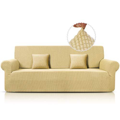 TAOCOCO 4-Sitzer-Sofabezug, elastisch, für Sessel von 237 cm bis 295 cm, maschinenwaschbar (beige)