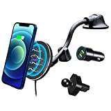 Magnetic Wireless Car Charger for iPhone 13 Pro Max/13/12/12 Pro Max/12 Pro/12 Mini/MagSafe Case,OTAO Air Vent Clip [with QC3.0 Adapter] Windshield Dashboard Car Mount Phone Holder