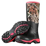 Hisea Women's Hunting Boots Insulated Rain Boots Waterproof Rubber Boots Neoprene Muck Outdoor Boots Pink